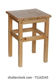 Wooden stool on a white background.