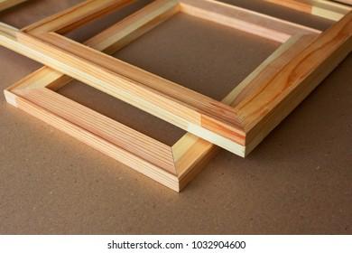 Wooden stretcher frames. Selective focus.