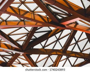 Holzstruktur Modernes Gebäude Dachschattiertes Licht Details Architektur
