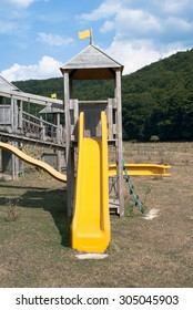 Wooden structure for outdoor playground