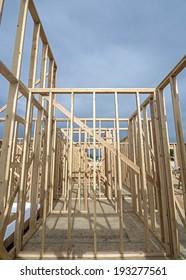 Wooden studs home construction built