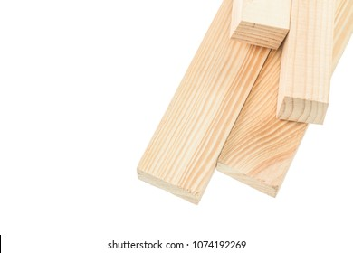 Wooden studs isolated on white