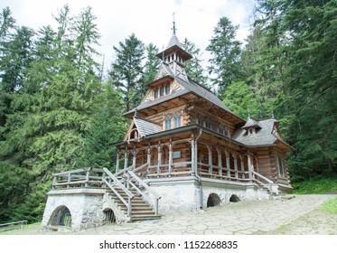 The wooden stylish Catholic church in Zakopane  town (Poland).