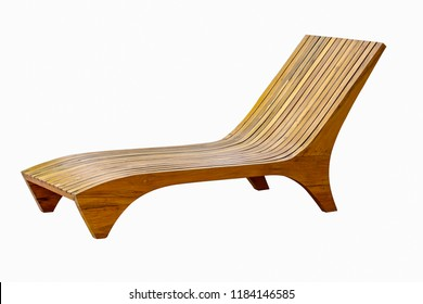 Wooden sun loungers isolated on white background