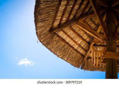 Wooden sun umbrella from bottom
