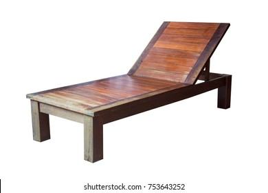 Wooden sunbed isolated on white background, with clipping path.
