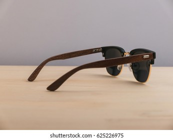 Wooden sunglasses with black frame