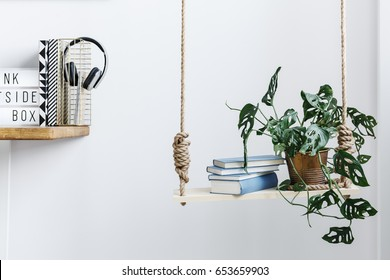 Wooden swing with books and plant in white room