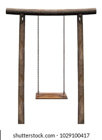 Wooden swing hanging on wooden pillar isolated on white background with clipping path