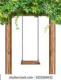 Wooden swing hanging on wooden pillar and isolated on white background with clipping path