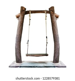 Wooden swing hanging on tree trunk pillar at playground isolated on white background with clipping path