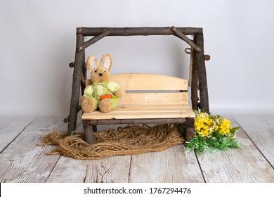 wooden swing newborn digital prop