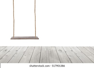 wooden swing and wood floor isolated on white background.