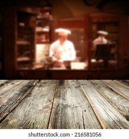 wooden table and bakery