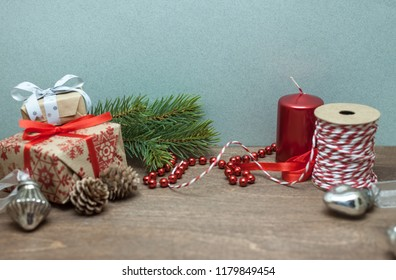 wooden table with beautiful christmas decoration preparation