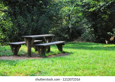 Wooden table with benches for outdoor dining in a natural environment.
