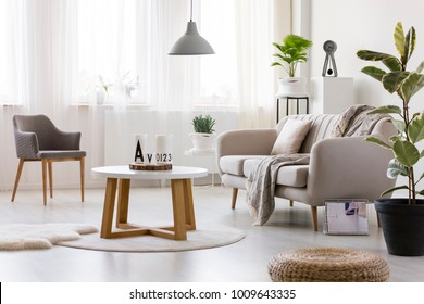 Wooden table between armchair and couch in cozy living room interior with pouf and ficus
