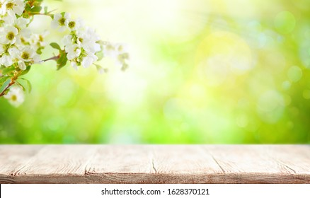 Wooden table and blurred green spring or summer background with flower blossom tree branches.Easter natural background with copy space.