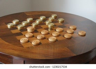 Wooden table for checkers