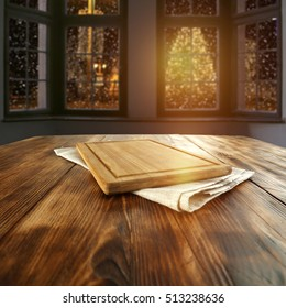 wooden table and dark window background of christmas time