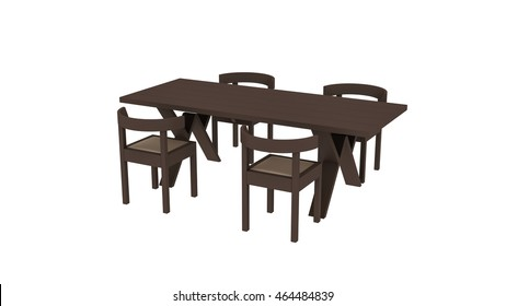 Wooden table with four chairs, furniture isolated on white background, 3D illustration