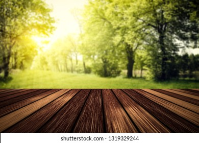 Wooden table of free space for your decoration and Spring sunny garden