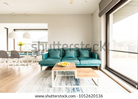 Wooden Table Front Green Sofa Open Stock Photo Edit Now 1052620136