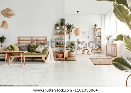 wooden table front green sofa white stock photo edit now rh shutterstock com sofa table in front of bay window white sofa table in front of window