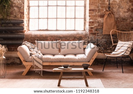 Wooden Table Front Grey Sofa Living Stock Photo Edit Now