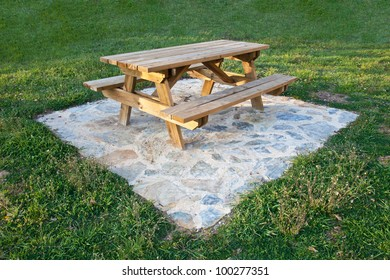 wooden table for the garden