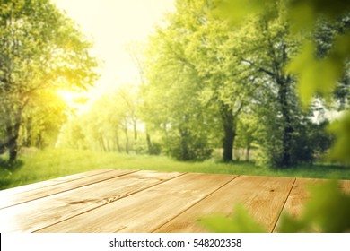 Wooden table in garden of spring time