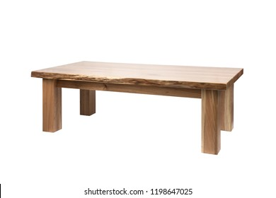 Wooden table isolated on white background