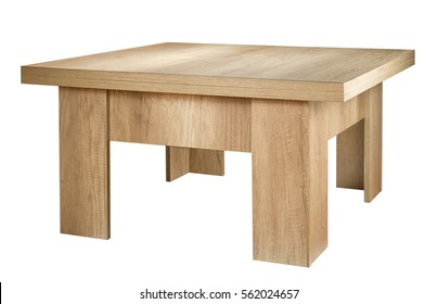 Wooden table isolated on a white background.
