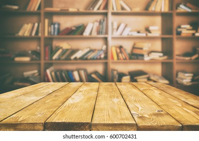 Wooden table in the library