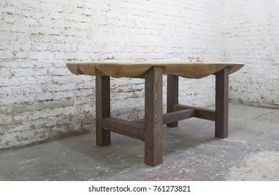 wooden table from log