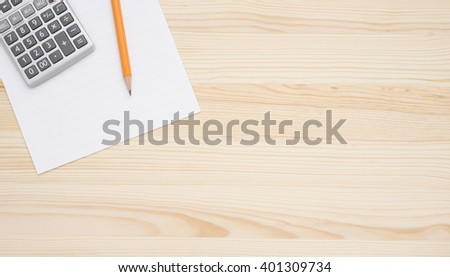 wooden table office calculator pen paper stock photo edit now