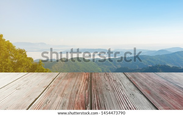 Wooden Table On Mountain Background Sea Stock Photo Edit Now 1454473790