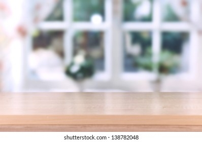 Wooden table on room background