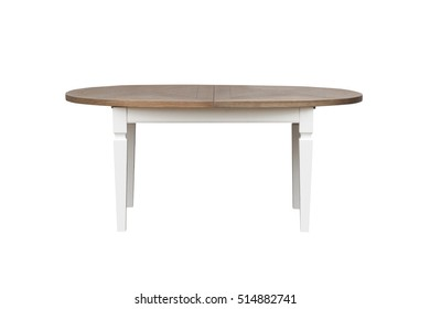 wooden table with an oval tabletop