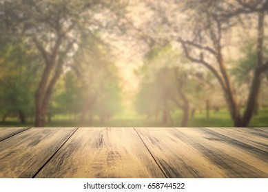Wooden table over defocused blossoming apple tree garden