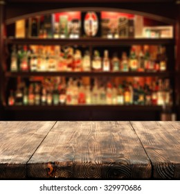 wooden table place bar and space for you