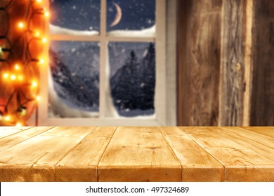 wooden table place and xmas time