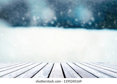 Wooden table with space for copying, image mounting and snow.
