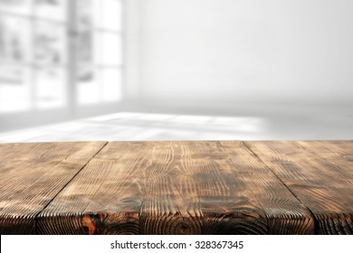wooden table and wooden space for you