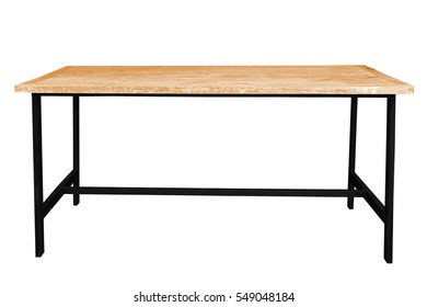 Wooden table steel legs simplistic on white background, work with path.