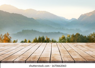 Wooden table terrace with Morning fresh atmosphere nature landscape
