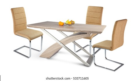 wooden table with three color chairs