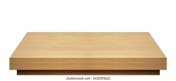Wooden table top isolated on white background including clipping path.
