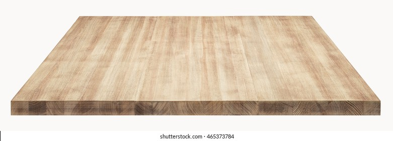 Wooden table top on white background.