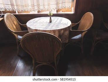 the wooden table in vintage thai coffee shop.